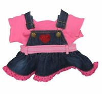 Build Your Bears Wardrobe 15-Inch Denim Heart Dress with T-Shirt Teddy Bear NEW