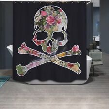 Sugar Skull Floral Shower Curtain Set Bathroom Polyester Fabric Curtains Liner