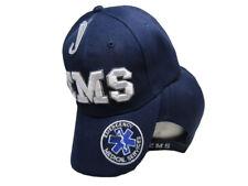 Dark Blue EMS Emergency Medical Service White Shadow Embroidered Cap Hat