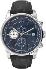 EXECUTIVE Club Herrenuhr 42mm Chronograph Blau Lederarmband Datum Elegant