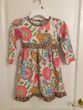 Ann Loren Boutique Zoo Animal Print Dress Cheetah Trim Sz 6 EUC Adorable Fall
