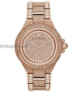 NEW MICHAEL KORS CAMILLE ROSE GOLD STAINLESS STEEL CRYSTALT LADIES WATCH MK5862