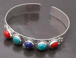 Free Shipping Bracelets 925 Silver Plated Gemstone Multi Cuff Bangles Jewelry