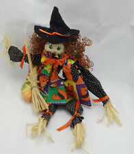 "cute Halloween scarecrow witch with broom 13"" shelf sitter with pumpkin dress"