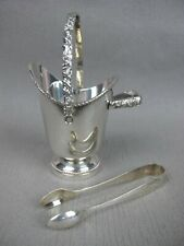 Superb quality vintage silver plated Sugar Cube Bowl / Bucket & Snips / Tongs.