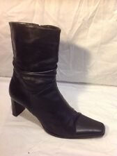 Riva Black Ankle Leather Boots Size 40