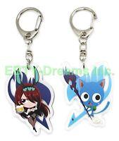 Set of 2 Fairy Tail Anime Acrylic Keychain Erza Scarlet Happy