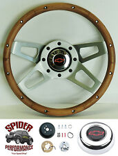 "88-94 Suburban Blazer Chevy pickup steering wheel Bowtie 13 1/2"" Walnut 4 Spoke"
