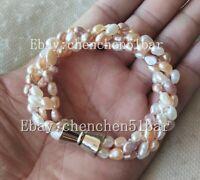 4 Stränge 4-6mm weiß rosa lila Süßwasser Perle Twist Armband Magnetverschluss