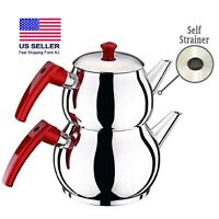 Turkish Teapot Set with Bakelite Handle, Stainless-Steel Stovetop Samovar Pot
