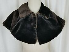 Vintage 50s Black Brown Velvet Wrap Collar Stole Shawl Shrug Bolero Cape Formal