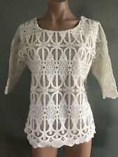 BNWOT Womens Sz 20 Crossroads Brand Cream Embroidered Overlay Round Neck Top