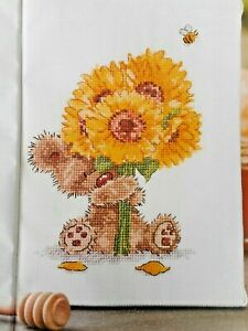 CUTE BEAR WITH SUNFLOWERS. CROSS STITCH CHART. SELLING FOR CHARITY 🎁