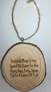 Personalised Wooden Small Round Log Sign Wood Plaque - Laser Engraved-Any Text