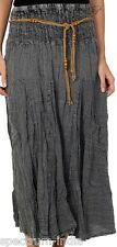 Adini Long 100% Cotton Black Skirt with Macrame and Bead Belt in Acid Wash Large