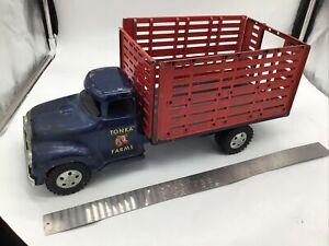 Vintage RARE TONKA FARMS TRUCK FLATBED Dark Blue Pressed Steel. Red Gates