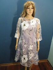 XL gray SHEER FLORAL PRINT LINED ZIP UP dress by YING@CAI