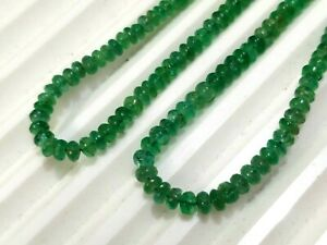 """3 mm Natural Emerald Smooth Rondelle Loose Beads 16"""" Strand Zambia Emerald Beads"""