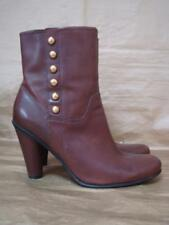 ECCO UK 7 BROWN HIGH ANKLE BOOTS WITH GOLD BUTTON DETAIL