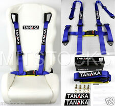 1 TANAKA UNIVERSAL BLUE 4 POINT BUCKLE RACING SEAT BELT HARNESS 2""