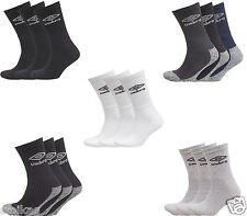 New Umbro Adults Unisex 3 Pack Crew Sports Casual Socks Size UK 6-8.5, 9-11
