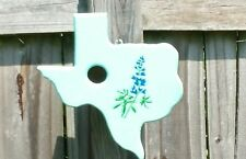 Turquoise Texas State Shaped Blue Bird Birdhouse with Bluebonnets Hand Made Wood