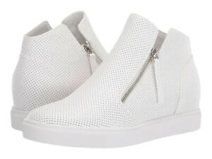 Steve Madden Caliber White Perforated Side Zip Wedge Sneaker Bootie NEW Size 7