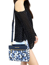 Michael Kors Hailee East West Crossbody Bag Navy MK Signature White Floral