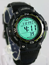 Casio SGW-100B-3A2 Watch COMPASS Thermometer Cloth Band Twin Sensor Green New