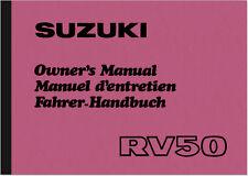 Suzuki RV 50 Bedienungsanleitung Betriebsanleitung Handbuch RV50 Owner's Manual