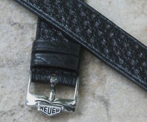 Black 20mm vintage rally band NOS 1960s with Heuer buckle Corfam original look
