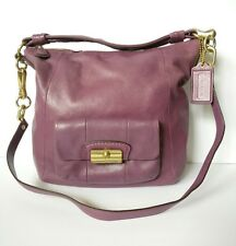 Coach 14783 Purple Kristin Leather Hobo Bag, Crossbody Handbag Purse