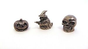 Witch Pumpkin Skull Pewter Thimbles Gift Set Collectible Goth Halloween Gifts