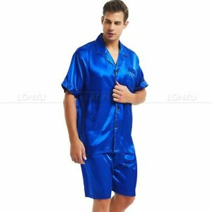 Mens Silk Satin Pajamas Set Short Sleeve+Short Pants Set Sleepwear Loungewear