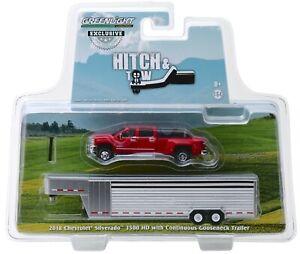 1:64 GreenLight *RED* 2018 Chevrolet Silverado Dually w/LIVESTOCK TRAILER NIP