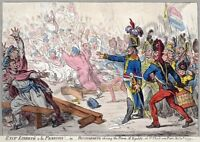 Satire Gillray 1799 Exit Liberte A La Francois Wall Canvas Art Print