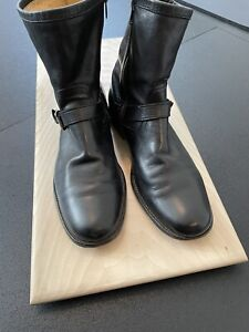 Men's Classic FRYE Black Leather Inside Zip Boots 10D  Used Engineer Style