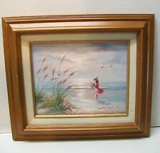Girl Ocean Flowers Seagulls Painting on Canvas Signed in Wood Frame