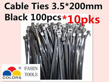 1000Pcs Black Electrical Nylon Cable Zip Ties (3.5mm x 200mm) UV Stabilised