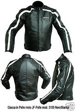 NUOVO Giacca Moto JF-Pelle mod 3155 NeroBianc