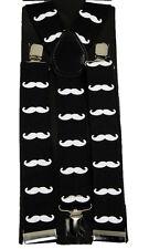 "Unisex Clip-on Braces Elastic ""Mustache"" Y -Back Suspender 1 1/2"""