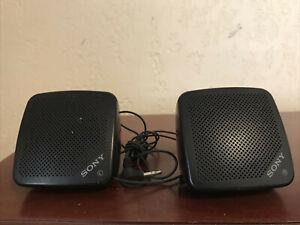 Vintage Black Pair Walkman Portable SONY Speakers Model No. SRS-5 Working Tested