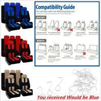 Car Seat Cover 9 Set Full Seat Covers for Crossovers Sedans Blue Black Universal