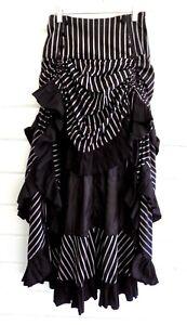 BELLO POQUE Black/Gray Striped Steampunk Victorian High Low Bustle Skirt-S