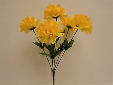 "4 Bushes YELLOW Carnation 6 Artificial Silk Flowers 16"" Bouquet FB341YL"