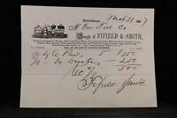 RI: Providence 1857 Fifield & Smith Wooden & Stone Ware Illustrated Invoice