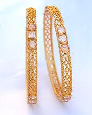 Gold Tone Beautiful Indian Fashion Party Wear Bangles Kadas Polki Jewellery Set
