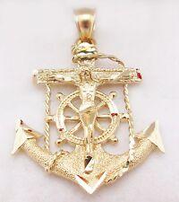 10k Yellow Gold Mariners Anchor Cross Crucifix Pendant