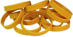 Childhood Cancer Awareness Bracelets Lot of 12 Gold Silicone Wristband IMPERFECT