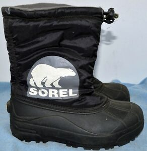 Sorel Snow Commander Youth US 4 Black Snow Boot Pre Owned  NY1824